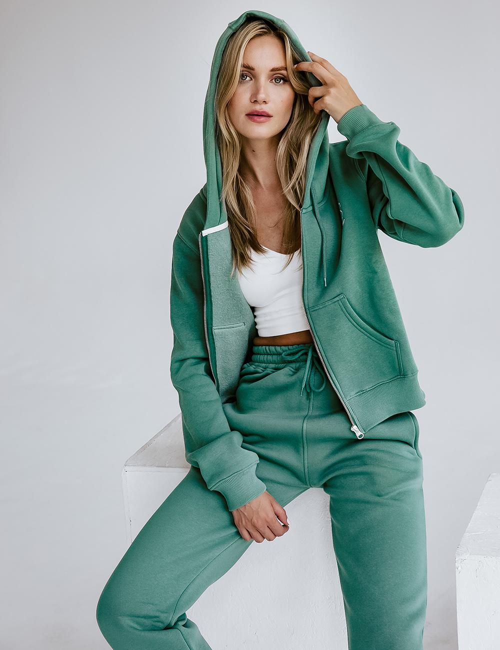 Bluza Crop Zip Zgaszona Mięta - Gymhero