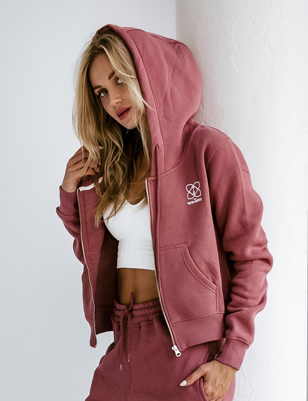 Bluza Crop Zip Zgaszony Róż - Gymhero